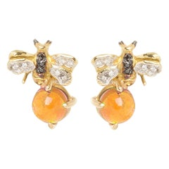 18 Karat Gold Citrine 0.10 Karat White Diamond Black Diamond Bees Stud Earrings