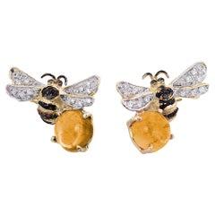 18 Karat Gold Citrine 0.16 Karat White Diamond Black Diamond Bees Stud Earrings