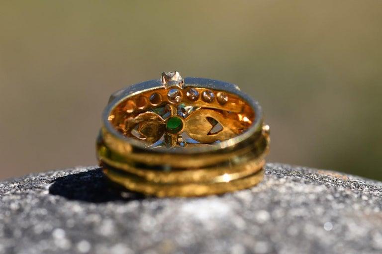 Oval Cut Art Nouveau Style 18 Karat Gold Demantoid Garnet and Diamond Ring