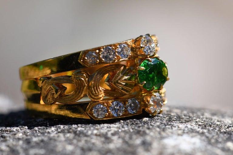 Art Nouveau Style 18 Karat Gold Demantoid Garnet and Diamond Ring In Excellent Condition In Banbury, GB