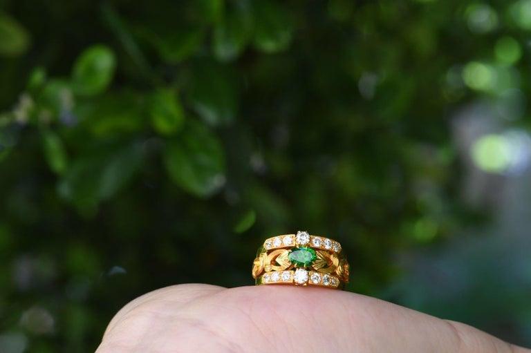 Women's Art Nouveau Style 18 Karat Gold Demantoid Garnet and Diamond Ring