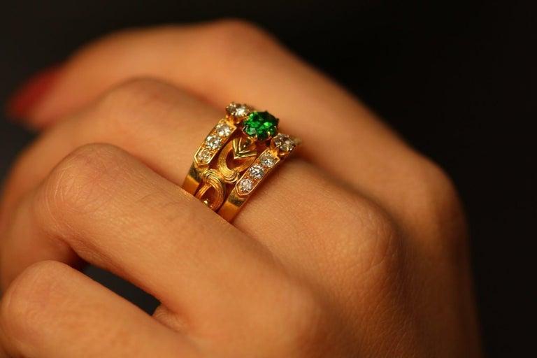 Art Nouveau Style 18 Karat Gold Demantoid Garnet and Diamond Ring 1