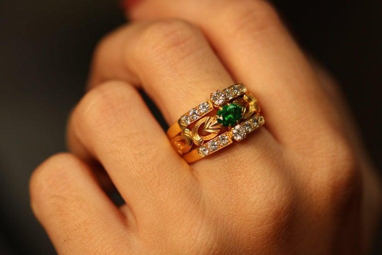 Art Nouveau Style 18 Karat Gold Demantoid Garnet and Diamond Ring 2