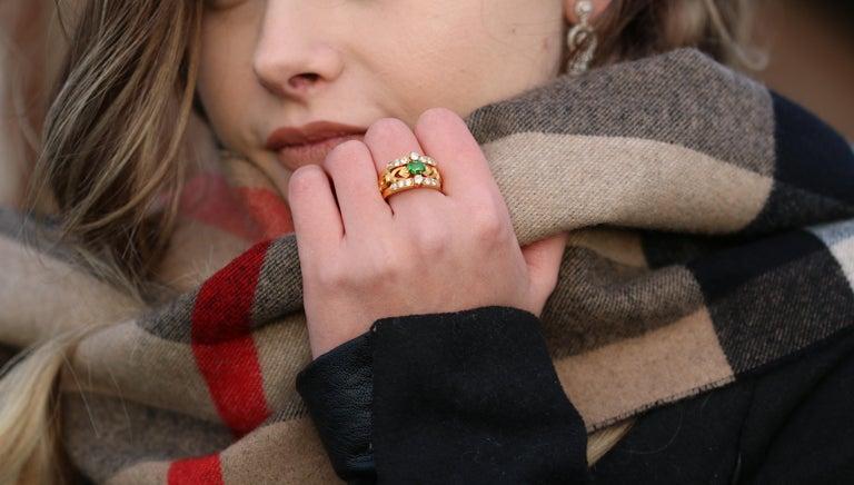 Art Nouveau Style 18 Karat Gold Demantoid Garnet and Diamond Ring 3