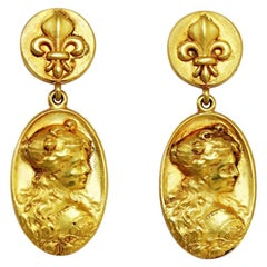 Art Nouveau Style 18K Gold Earrings