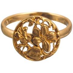 Art Nouveau Style Floral 18 Karat Gold Ring
