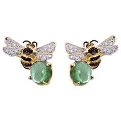 18 Karat Gold 4 Karats Tourmaline 0.16 Karat White Diamonds Bees Stud Earrings