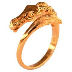 Art Nouveau Style 18 Karat Gold Horse Crossover Ring