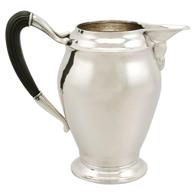 Art Nouveau Style 1920s Danish Silver Water Jug