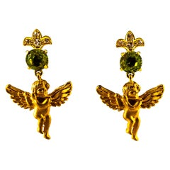 "Art Nouveau Style 2.80 Carat White Diamond Peridot Yellow Gold ""Angel"" Earrings"