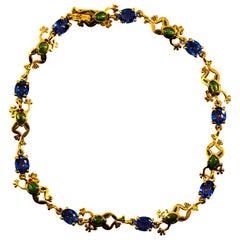 """Art Nouveau Style 4.50 Carat Blue Sapphire Enamel Yellow Gold """"Frog"""" Bracelet"""