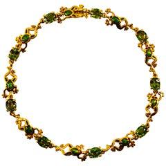 "Art Nouveau Style 4.50 Carat Green Sapphire Enamel Yellow Gold ""Frog"" Bracelet"