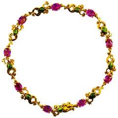 "Art Nouveau Style 4.50 Carat Pink Sapphire Enamel Yellow Gold ""Frog"" Bracelet"