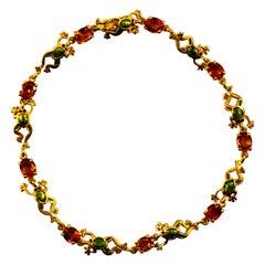 "Art Nouveau Style 4.50 Carat Yellow Sapphire Enamel Yellow Gold ""Frog"" Bracelet"