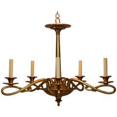 Art Nouveau Style 5-Arm Brass Chandelier