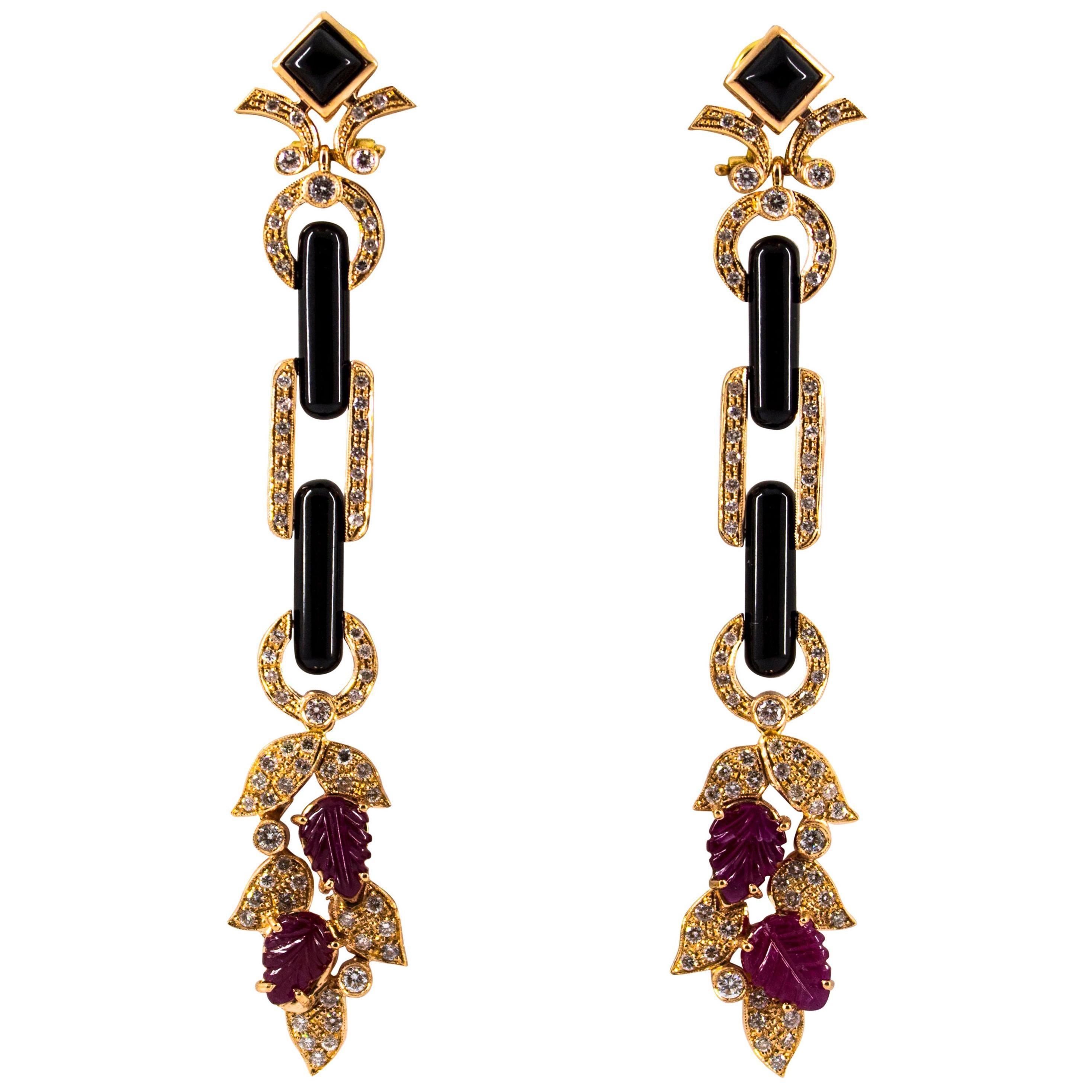 Art Nouveau Style 6.56 Carat White Diamond Ruby Onyx Yellow Gold Drop Earrings