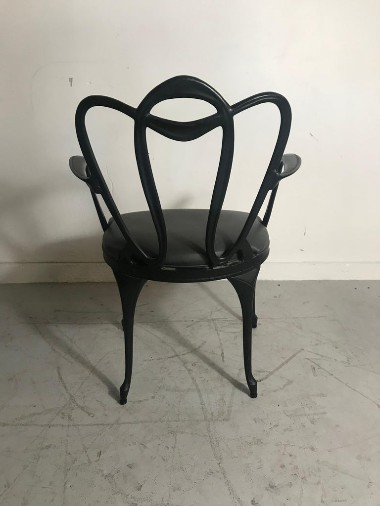 Art Nouveau Style Cast Aluminum Armchair by Crucible Products Corp. 1960 In Good Condition In Buffalo, NY