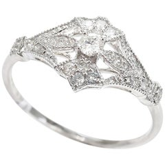 Art Nouveau Style Diamond 18 Carat White Gold Dress Ring