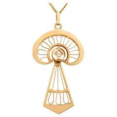 Antique Art Nouveau Style Diamond and Yellow Gold Pendant