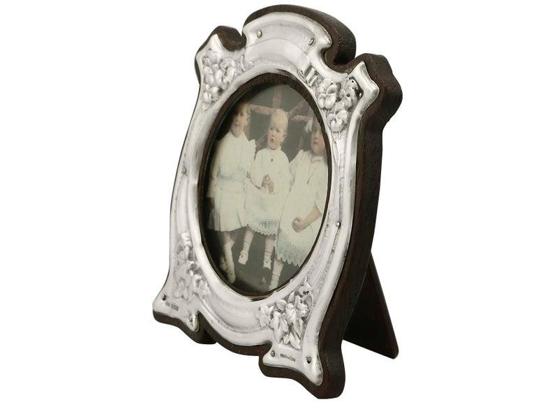 English Art Nouveau Style Edwardian Sterling Silver Photograph Frame For Sale