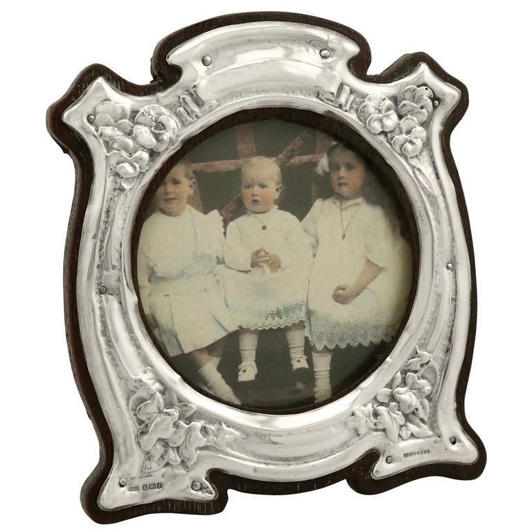 Art Nouveau Style Edwardian Sterling Silver Photograph Frame For Sale