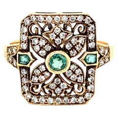 Art Nouveau Style Emerald Diamond Cocktail Ring Estate Fine Jewelry
