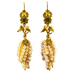 "Art Nouveau Style Emerald Pearl Yellow Gold Lever-Back ""Cluster"" Drop Earrings"