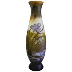 Art Nouveau Style, Extra Large Glass Vase After Galle', Very Rare