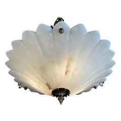 Art Nouveau Style White Alabaster & Bronze Three-Light Chandelier Pendant Light