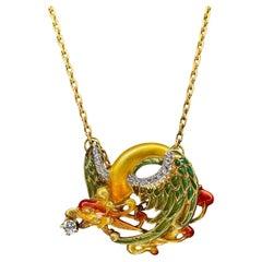 Art Nouveau Style Masriera 18K Gold Enamel Diamond Dragon Necklace