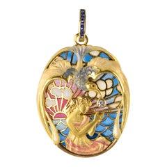 Art Nouveau Style Medallion Diamond Enamel Yellow Gold Pendant Necklace