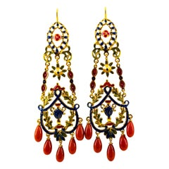 Art Nouveau Style Mediterranean Red Coral Enamel Yellow Gold Stud Drop Earrings
