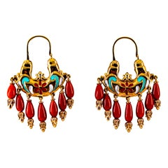 Art Nouveau Style Mediterranean Red Coral Enamel Yellow Gold Stud Earrings