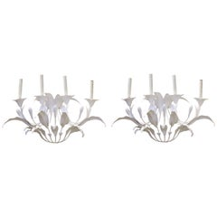 Art Nouveau Style Metal Floral Candelabra Sconces in White