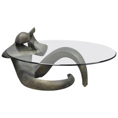 Art Nouveau Style Mid-Century Modern Figural Female Woman Glass Top Coffee Table