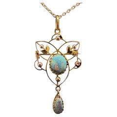 Art Nouveau Style Opal Necklace and Chain in 15 Karat Yellow Gold