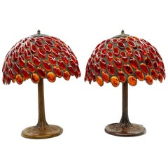 Art Nouveau Style Orange Lamps, French Manufacturer, Mid-20th Century