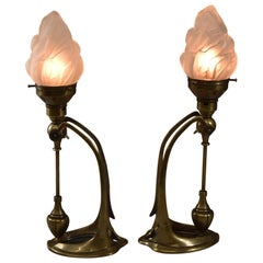 Art Nouveau Style Pair of Bronze Mantle Lamps Vintage Flame Opaque Glass Shade