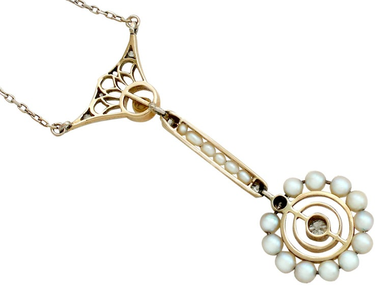 Women's Art Nouveau Style Pearl Diamond Gold Pendant For Sale