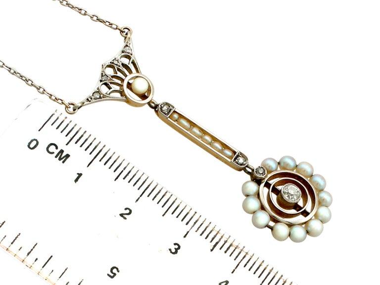 Art Nouveau Style Pearl Diamond Gold Pendant For Sale 1