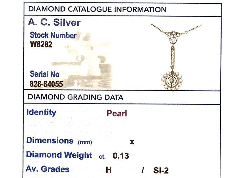 Art Nouveau Style Pearl Diamond Gold Pendant For Sale 2