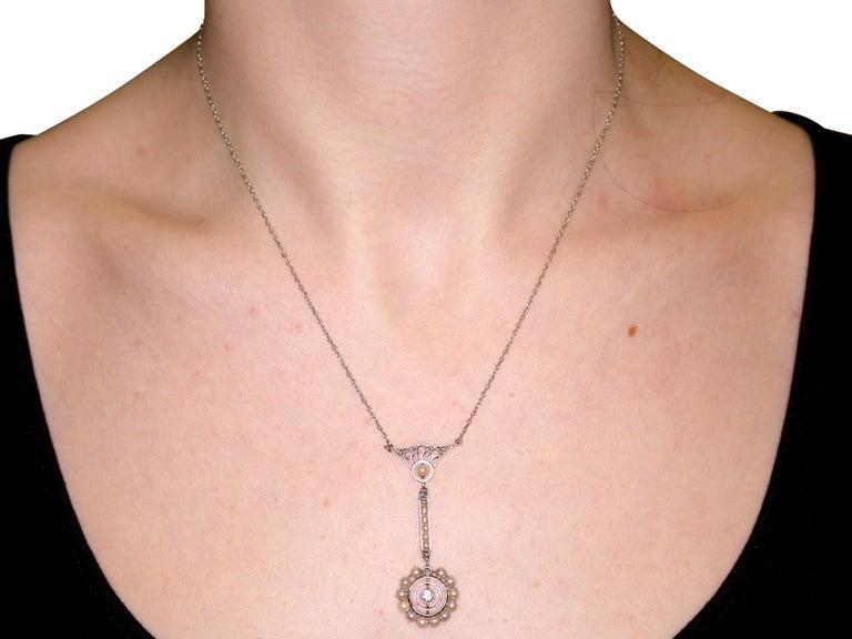 Art Nouveau Style Pearl Diamond Gold Pendant For Sale 3