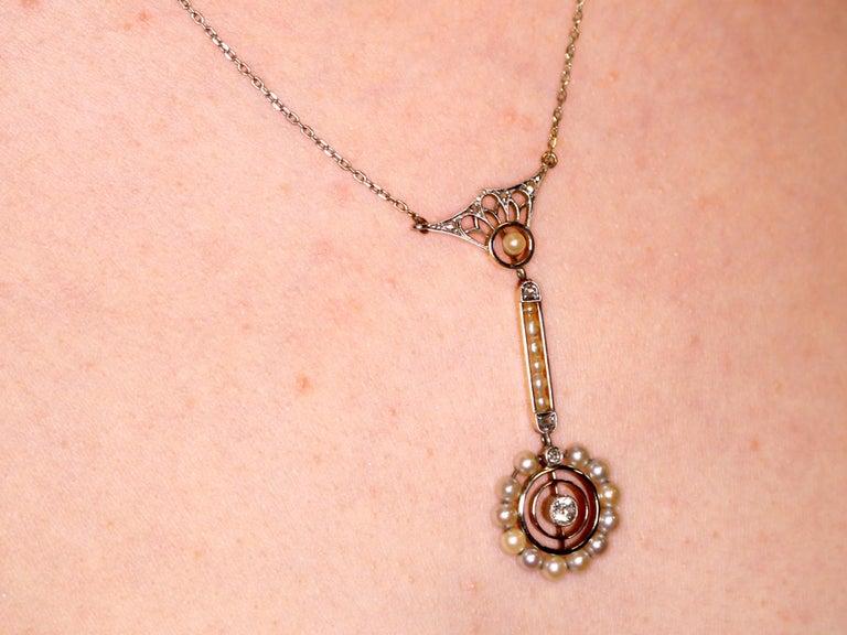 Art Nouveau Style Pearl Diamond Gold Pendant For Sale 4