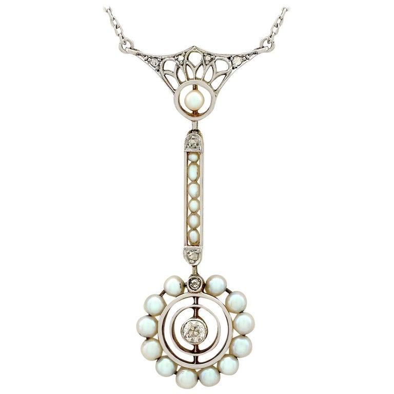 Art Nouveau Style Pearl Diamond Gold Pendant For Sale