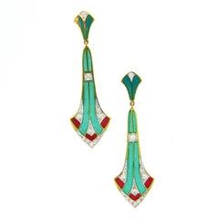 Art Nouveau Style Plique à Jour Enamel Diamonds Dangle Earrings