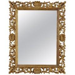 Art Nouveau Style Rectangular Gold Foil Hand Carved Wooden Mirror, 1970