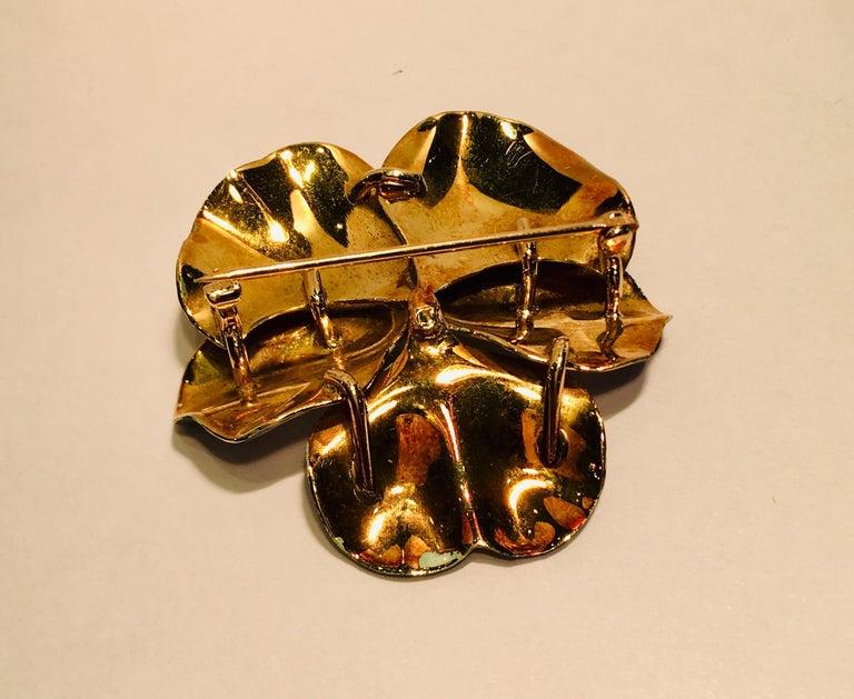 Art Nouveau Style Vintage Enamel Pansy Flower Pin 14 Karat Gold and Pearl 7