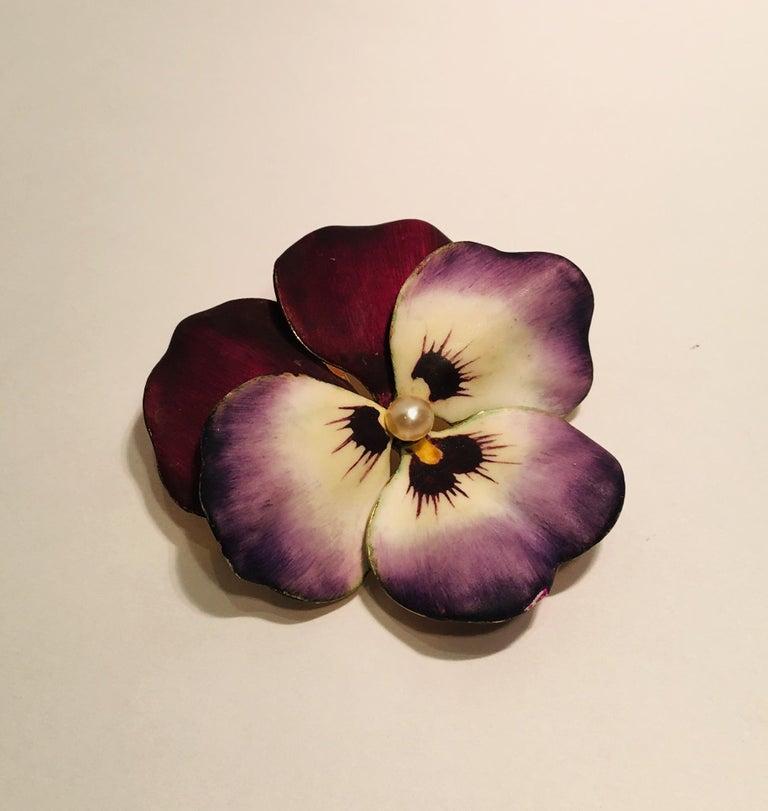 Art Nouveau Style Vintage Enamel Pansy Flower Pin 14 Karat Gold and Pearl 2