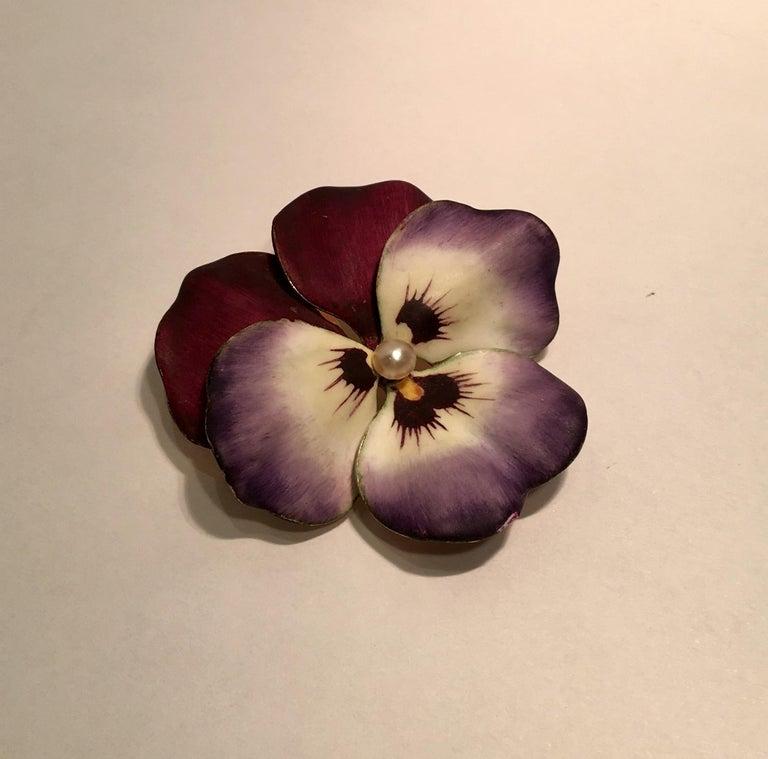 Art Nouveau Style Vintage Enamel Pansy Flower Pin 14 Karat Gold and Pearl 3