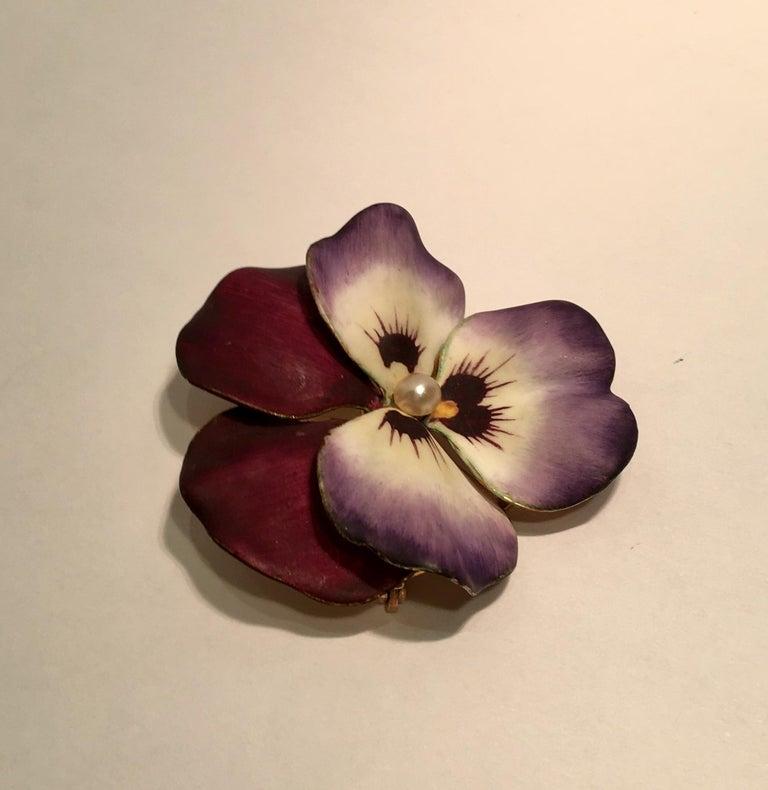 Art Nouveau Style Vintage Enamel Pansy Flower Pin 14 Karat Gold and Pearl 4